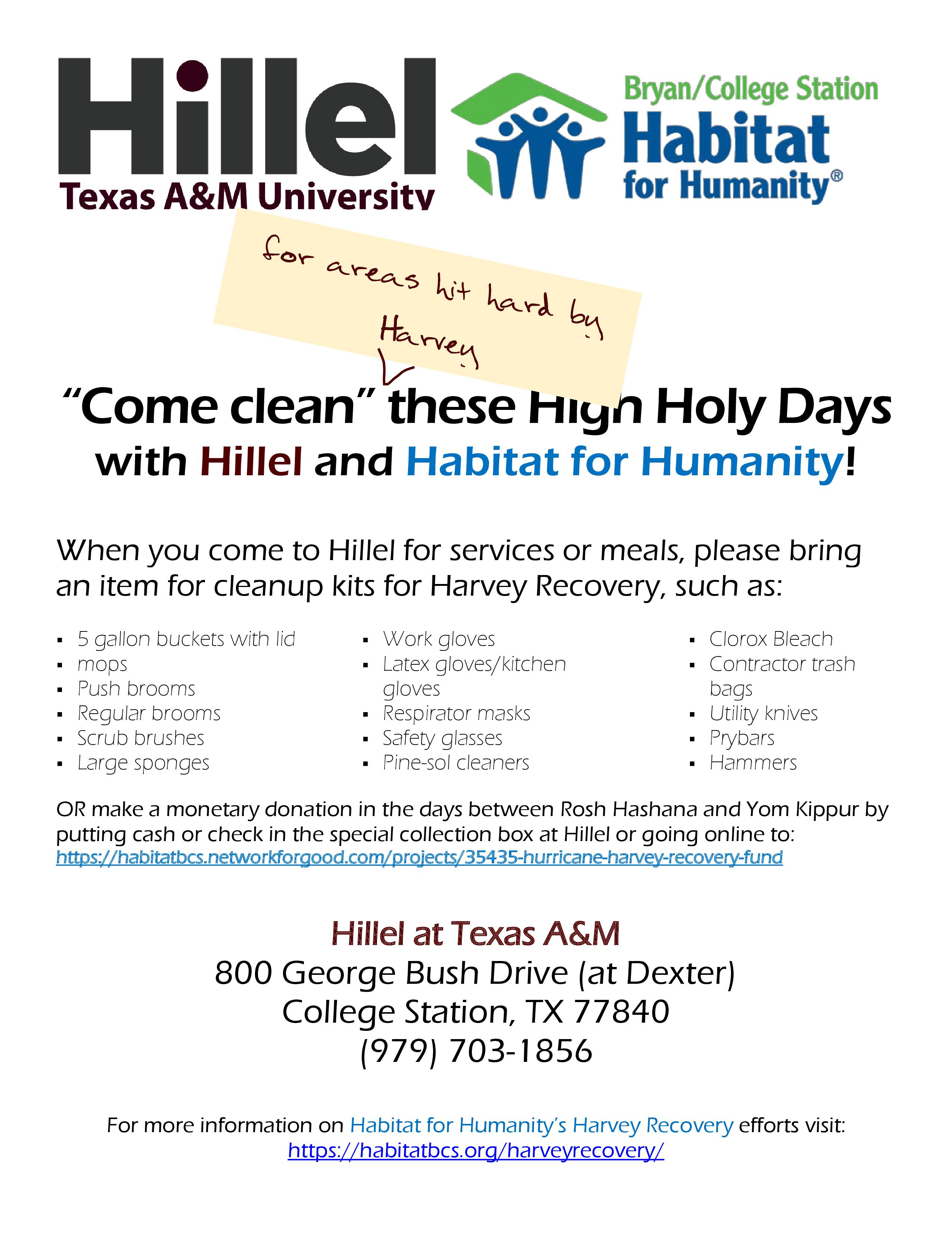 Come Clean (for Harvey) these High Holy Days!